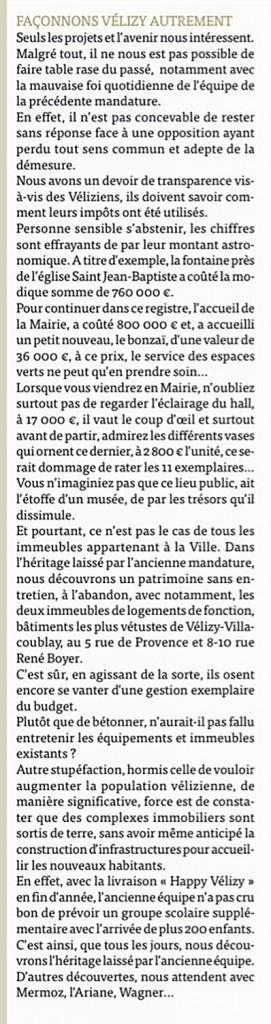 Tribune FVA - Echos de Vélizy