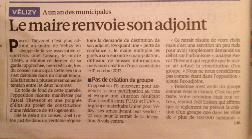 Article Le Parisien Vélizy