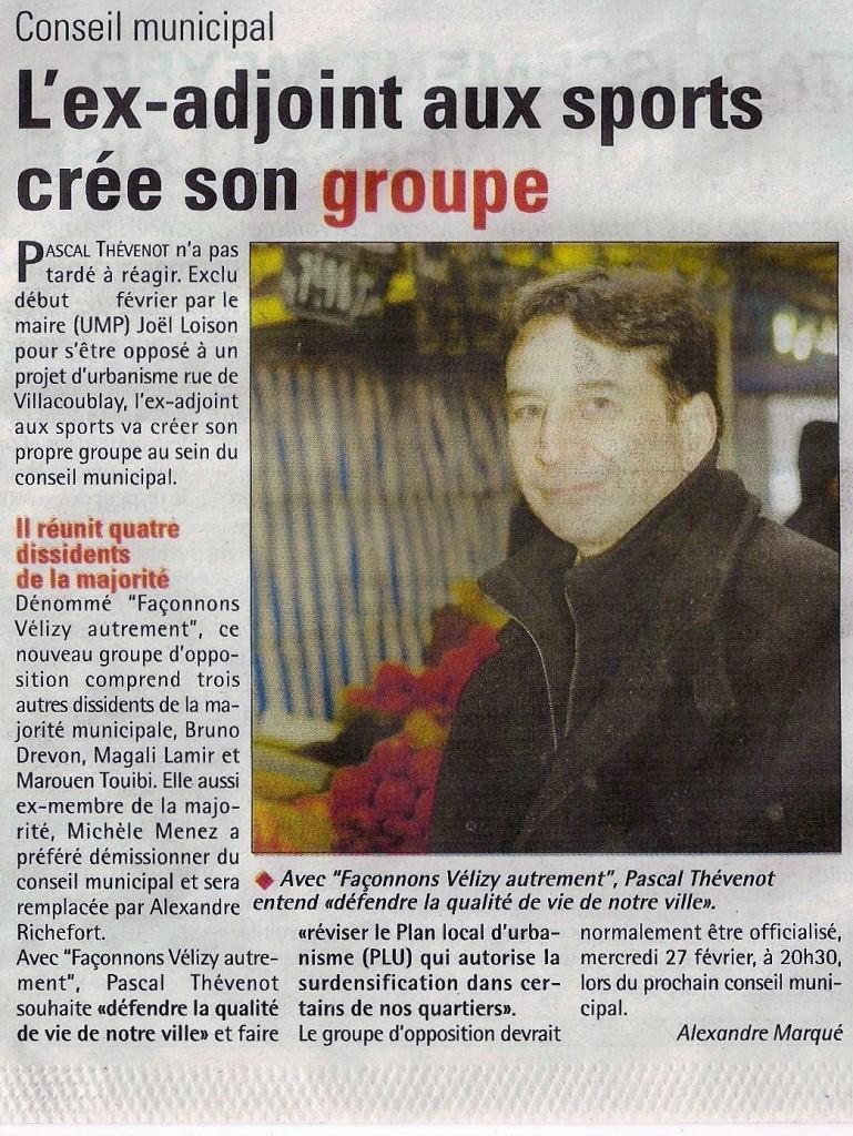 Article Les Nouvelles de Versailles