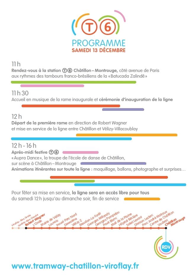 Programme Inauguration Tramway T6 Chatillon Vélizy
